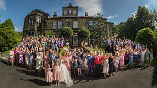 The whole wedding party, group photos at Crow Hill, Marsden