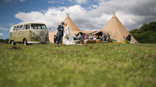 Sheffield Tipi wedding with cool VW camper van and even cooler couple.