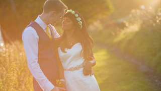 A Sheffield Marquee wedding, stunning evening light at Foxholes Farm.
