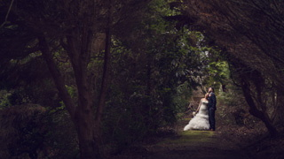Bride and Groom in the grounds of Stanneylands, Wilmslow.