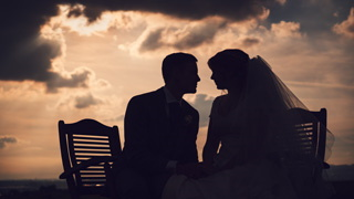 Dramtic silhouette at a wedding in Milnrow, nr. Rochdale.