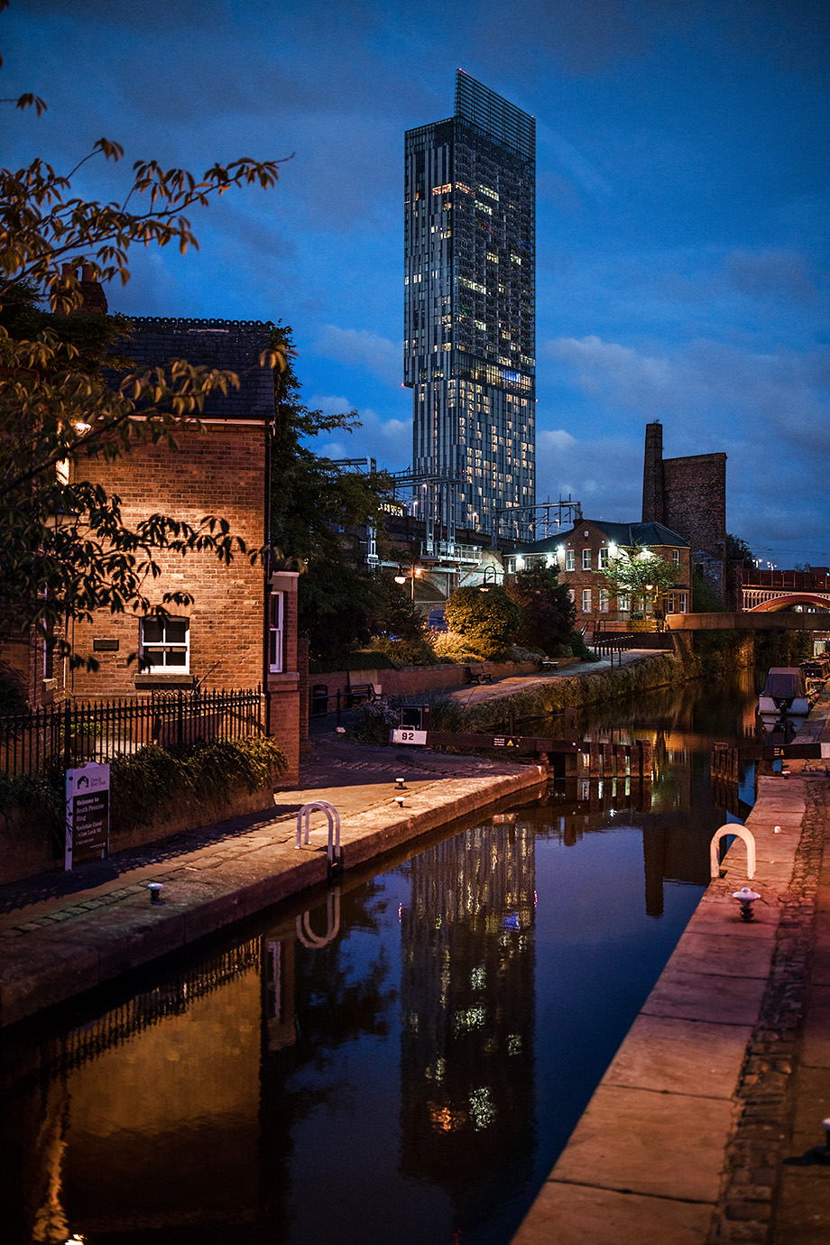 Castlefield area of Manchester photographed at night